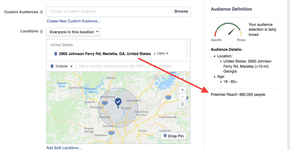 Selecting your audience for Facebook ads