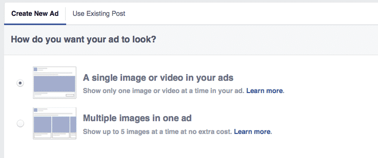 Selecting your Facebook ad layout