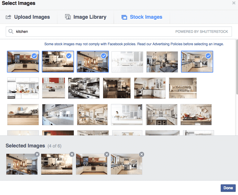 Adding images to your Facebook ad with stock images on Facebook